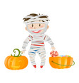 halloween theme with boy in zombie costume vector image