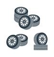 rubber wheel tire rim drive car vector image