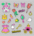 girl princess badges patches stickers with crown vector image