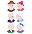 Old couple grandparents icons vector image vector image