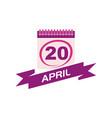 20 april calendar with ribbon vector image