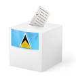 Ballot box with voting paper Saint Lucia vector image