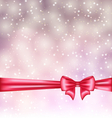 Glowing background with gift bow ribbon vector image