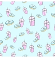 Milkshake and donut seamless pattern vector image