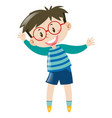 boy with glasses wearing blue shirt vector image