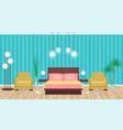 bright colors elegant bedroom interior with vector image