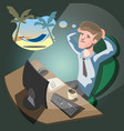 business man dreaming on a cloud vector image
