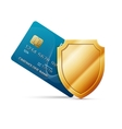 Credit card with shield vector image