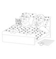 fat people in bed - black and white image vector image