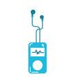 mp3 player with rhythm cardiac and headphones vector image