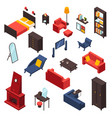 living room furniture icons set vector image vector image