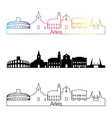 arles skyline linear style with rainbow vector image