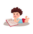 Cute curly little boy lying on his stomach and vector image