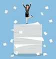 Business woman celebrating on a lot of documents vector image vector image
