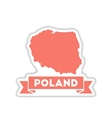 paper sticker on white background map of Poland vector image