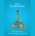 hand drawn christmas elements with santa vector image