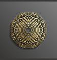 islamic 3d gold on dark mandala round ornament vector image