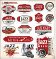 jazz music badges and labels retro black vector image