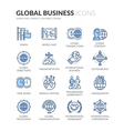 Line Global Business Icons vector image