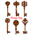 old vintage metal keys isolated icons set vector image