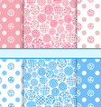 Pink and blue set of polka dot fabric seamless vector image