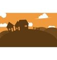 Silhouette of house in hill vector image