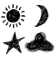 sun moon star cloud vector image