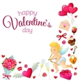 Corner frame with Valentines Day icons vector image