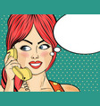 pop art woman chatting on retro phone comic vector image