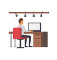 man working on computer business office vector image
