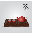 red china teapot and tea cups eps10 vector image