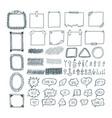 Set of hand drawn arrows speech bubbles frames vector image