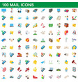 100 mail icons set cartoon style vector image