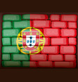 portugal flag on brickwall vector image