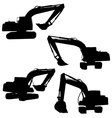 backhoe silhouette vector image