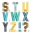 Alphabet letters of ribbons and lines vector image