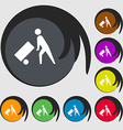 Loader icon sign Symbol on eight colored buttons vector image