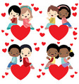 diverse kids couples sitting on hearts valentine vector image