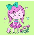 Little girl looks at flowers vector image