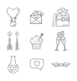 Set of line valentine day icon Flat design vector image