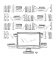 Workplace with computer and books shelves vector image