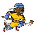 Honey Badger Hockey Mascot vector image vector image