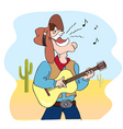 cowboy and music vector image