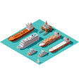 isometric ships and oil rig vector image