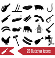 butcher and meat shop black icons set eps10 vector image