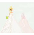 Beautiful young princess holding a big green frog vector image