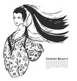 chinese calligraphic ink beautiful woman sketch vector image
