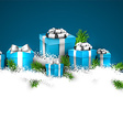 Christmas blue background with gift boxes vector image