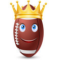 Golden crown on ball rugby vector image