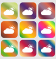 Partly Cloudy icon Nine buttons with bright vector image